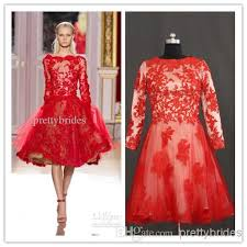 custom made zuhair murad short red lace long sleeve prom pageant