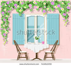 Cafe Style Table And Chairs Stylish Provence Street Cafe Exterior Window Stock Vector