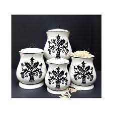 black and white kitchen canisters fleur de lis kitchen ebay