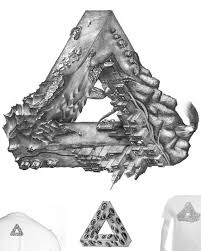 penrose triangle tattoo style for men real photo pictures