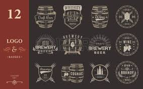 set of wooden casks with alcohol drinks emblems and labels set