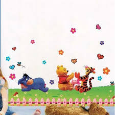 stickers winnie the pooh and happy animals in natural world