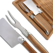 laguiole cheese knife olive wood handle and stainless steel bolsters