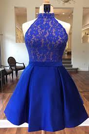 blue dresses royal blue satin lace bridesmaid dress halter prom dress