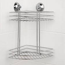 Bathroom Suction Shelves Beldray 2 Tier Corner Suction Shower Basket Chrome Bathroom