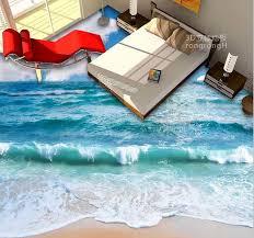 Bedroom Floor Design Customized Waterproof Pvc Wallpaper 3d Flooring Wallpaper Sea And