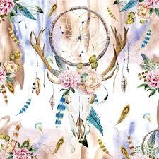 Indie Bedding Sets Boho Bedding Watercolor Deer Skull Wildflowers Duvet Bedding Set