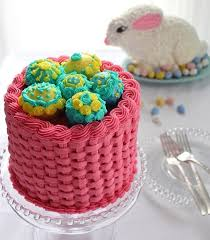 egg baskets orange cake bunny rabbit fills an egg basket chocolate cake