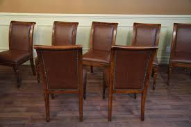 solid walnut leather upholstered dining chairs with brass nails