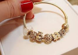 gold bracelet charms images Pandora authentic solid 14k gold bracelet w 10 14k gold charms jpg