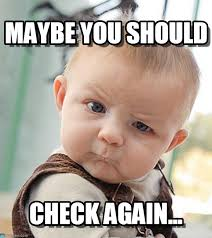 Check In Meme - maybe you should sceptical baby meme on memegen