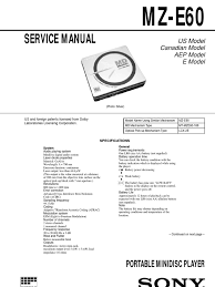 sony mz e60 service manual