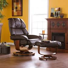Leather Swivel Recliner Bonded Leather Swivel Recliner With Movable Side Table And Ottoman