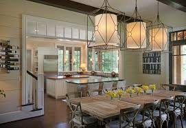 Pendant Lighting For Dining Table Farm Table Lighting Dining Room Farmhouse With Light Green Wall