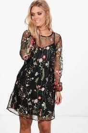 boohoo clothing plus embroidered skater dress boohoo