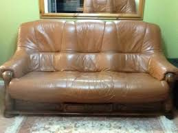 Leather And Wood Sofa Wooden Leather Sofa Ebay