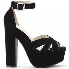 koi couture black faux suede strappy sandals platforms high heels shoe