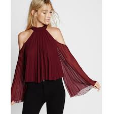 shoulder blouses express high neck pleated cold shoulder blouse 70 liked on