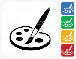 Painting Icon Paint And Brush Icon Flat Graphic Design Stock Vector Art