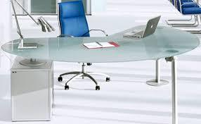 bureau de direction en verre isotta bureau direction verre sablé caisson à droite aluminium