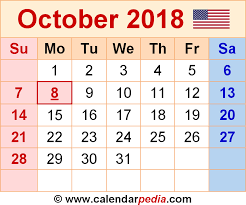 october 2018 calendar pdf 2018 calendar with holidays