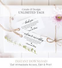 wedding favor tag template welcome bag tag thank you tag
