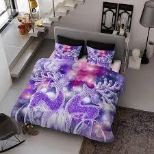 Duvet Cover Purple Dreamlike Purple Reindeer Print Satin Drill 4 Piece Christmas