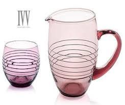 bicchieri ivv ivv set 6 bicchieri brocca acqua rings ametista vetro viola ebay