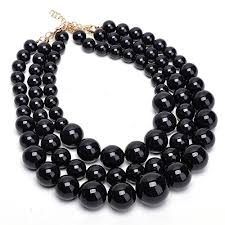 collar necklace beads images Fashion strand chain black big resin simulated pearl jpg