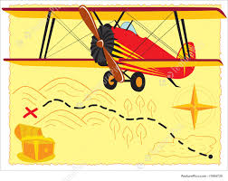 Old Treasure Map Retro Plane Illustration