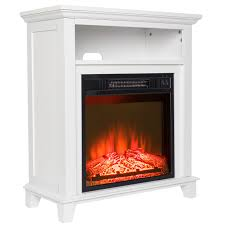 27 u2033 freestanding white mantel shelf electric fireplace w 3d flame