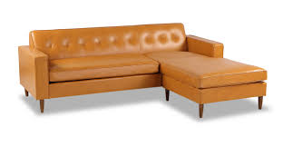 Mid Century Modern Sectional Sofas by Eleanor Sofa Sectional Right Chaise Tan Aniline Leather Kardiel