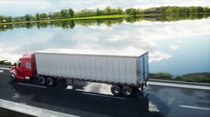 concept semi truck semi trailer truck on the road highway transports logistics