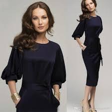 2018 casual ol dress office lady clothing 3 4 lantern sleeve o