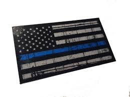 Subdued American Flag With Thin Blue Line Tattered Police Officer Thin Blue Line Reflective American