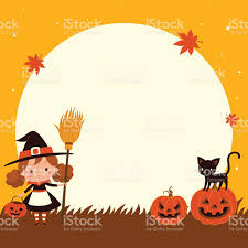cat halloween background images halloween cute little witch with cat halloween background stock