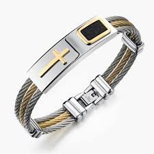 stainless steel chain bracelet images Stainless steel cross wire chain bracelet pluto99 jpg