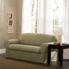 Loveseat Slipcover Amazon Com Maytex Piped Suede 2 Piece Sofa Slipcover Sage Home