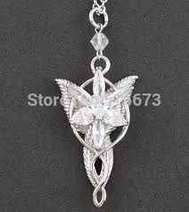 silver necklace with stone images Wholesale 100 925 silver arwen evenstar pendant necklace zircon jpg