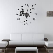 cat wall sticker clock wall chimp