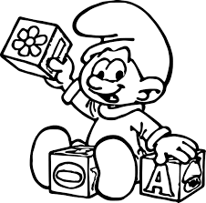 baby smurf playing toy coloring page wecoloringpage