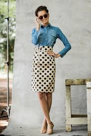 women u0027s light blue denim shirt red plaid pencil skirt black