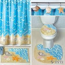 Seashell Bathroom Rugs Nautical Seashell Decor Complete Bathroom Rug And Shower Curtain