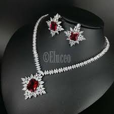 zircon necklace sets images Classic bridal party wear very high quality sliver colored ruby jpg