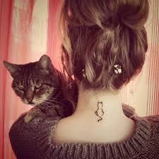 small cat tattoo on back of neck best tattoo 2017