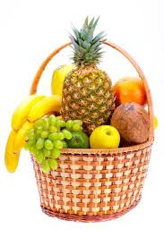 basket of fruits wicker basket of the ripe fruit stock photo colourbox