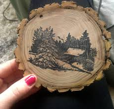 handmade wood burning ornament