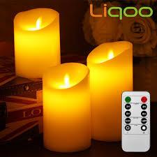 Wohnzimmer Deko Kerzen Liqoo 3er Set Flammenlose Led Kerzen Echtwachskerze Mit