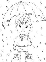 noddy walking rain umbrella coloring pages bulk color