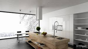 kitchen massive window also modern pendant lamps plus wood block